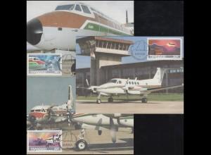 RSA / Transkei: Flugzeuge Aircraft, 3 Werte, 3 Maximumkarten ESSt UMTATA 2.5.87