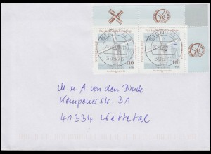1950 Niederrheinische Bockwindmühle ER-Paar ob. rechts MeF Brief STENDAL 26.6.02