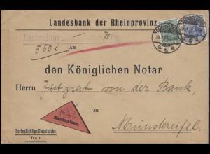 Germania 5+20 Pf. NN-Brief Landesbank DÜSSELDORF 6 a - 28.3.18 nach Münstereifel