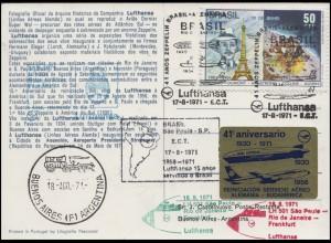 Luftpost Lufthansa LH 501 Sao Paulo - Rio de Janeiro - Frankfurt/Main 18.8.1971