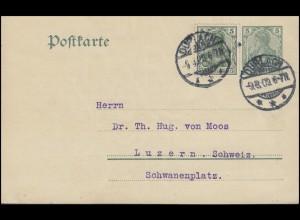 Postkarte P 78 Germania 5 Pf WZ.3 mit Zusatzfrankatur DURLACH 9.8.09 nach Luzern