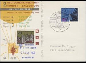 2. Deutscher Kinderdorf Ballonflug D-Ergee, SSt STUTTGART Funkausstellung 1965