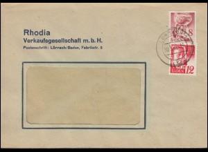 Franz. Zone Baden 32+18 Freimarken MiF auf Fenster-Brief LÖRRACH 30.3.1948