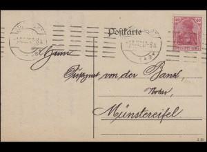 145II Germania EF Postkarte Hypothekenbank STUTTGART 1s - 1.8.21 n. Münstereifel