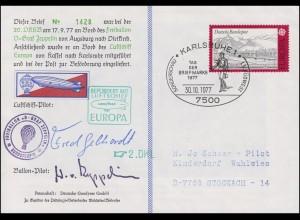 Luftschiffspost DKL 2 EUROPA Kassel - Karlsruhe SSt KARLSRUHE 30.10.77