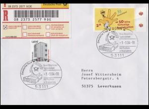 2344 Neue Postleitzahlen MiF R-Bf SSt Bonn Maschinen-Tagesstempel in BZ 1.3.2004