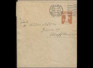 Schweiz Streifband S 31 Tellknabe, LUZERN 23.3.1918 nach Schaffhausen