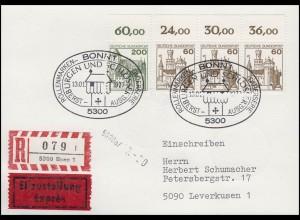 BuS Marksburg & Schloss Bürresheim, mit Oberrand, Eil-R-FDC-PK ESSt Bonn 13.1.77