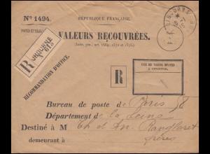 Dienstbrief VALEURS RECOUVREES als R-Brief Not-R-Zettel LIBOURNE 18.1.1915