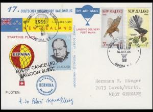 17. Deutscher Kinderdorf Ballonflug BERNINA Neuseeland - Deutschland 16.10.1965
