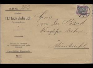 Germania 40 Pf. EF Zustellungsurkunde EUSKIRCHEN 25.5.07 n. Münstereifel 25.5.07