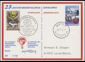 23. Deutscher Kinderdorf Ballonflug Borstempel D-ERGEE, Belgien WATOU 28.7.68