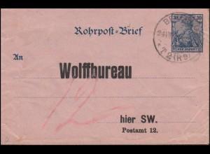 Rohrpost-Umschlag RU 4a Reichspost BERLIN T2 (R9) 24.8.01 nach BERLIN P12 (R16)