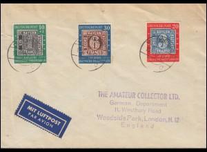 113-115 100 Jahre Briefmarken auf Satzbrief DILLENBURG 13.10.1949