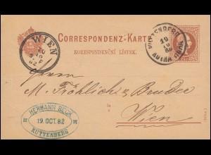 Postkarte P 26 Franz-Joseph 2 Kr KUTTENBERG KUTNA HORA 19.10.82 nach WIEN 20.10.