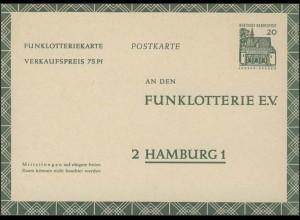 Funklotterie-Postkarte FP12 Bauwerke 20 Pf, ** ungebraucht