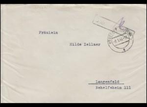 Gebühr-bezahlt-Stempel schwarz auf Brief NEUSTADT / AISCH 8.1.46 nach Langenfeld