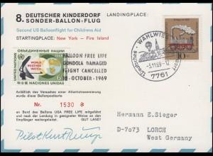 8. Deutscher Kinderdorf Sonder-Ballonflug USA-Deutschland, SSt WAHLWIES 3.11.69
