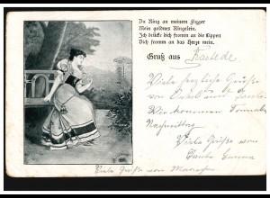 AK Lyrik Gruss aus ... Der Ring an meinem Finger, RASTEDE 28.9.1903