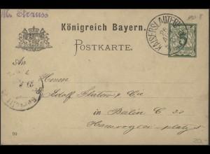 Bayern Postkarte Ziffer 5 Pf. KAISERSLAUTERN 26.8.90 nach BERLIN 27.8.