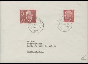 185x Heuss 20 Pf MiF mit Berlin 192 Walther Schreiber, Brief Straubing 12.5.61