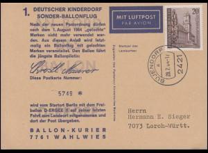 1. Deutscher Kinderdorf Sonder-Ballonflug D-Ergee II, BUJENDORF 28.7.64 n. Lorch