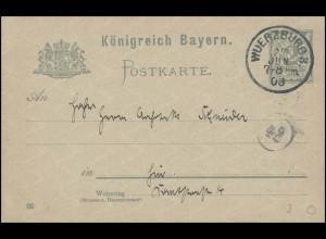 Bayern Orts-Postkarte WÜRZBURG 3./27.6.03 & Kreisnummer 42 an Architektenverein