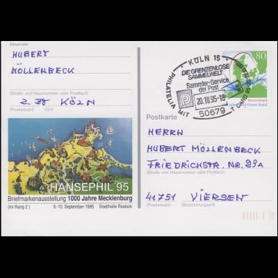 PSo 38 HANSEPHIL'95 1000 Jahre Mecklenburg SSt KÖLN Grenzenlos Sammeln 20.10.95