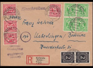 3+8 AM-Post 5+15 Pf. mit 912 Ziffer 2 Pf. als MiF auf R-Brief KARLSRUHE 1.9.1946