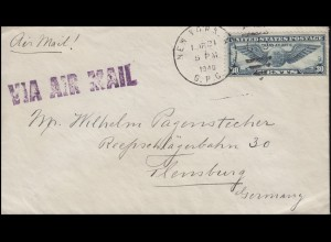 Zensurpost Deutsches Reich USA-Brief NEW YORK 21.3.1940 nach Flensburg