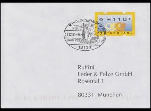 ATM 3.3. Postemblem 110 Pf SSt BERLIN Letzter Tag der DM 31.12.2001