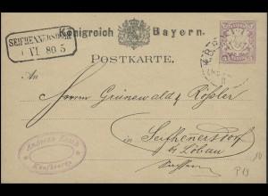 Bayern Postkarte K.B. BAHNPOST 31.5.80 nach SEIFHENNERSDORF Rahmenstempel 1.6.