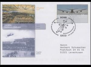 USo 224 Hamburger Flughafen, FDC Erstverwendung Bonn Flugzeuge 3.1.11