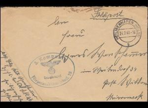 2+7 AM-Post 4+12 Pf. mit 917a Ziffer 8 Pf. als MiF auf Brief KARLSRUHE 14.5.1946