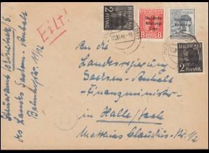 1. Postbeförderung Wuppertaler Schwebebahn MiF Eil-R-Bf SSt WUPPERTAL 13.5.61