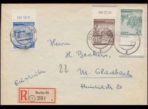 355-357 Radfernfahrt Friedensfahrt 1953 mit 357II auf R-Brief BERLIN 25 - 4.5.53