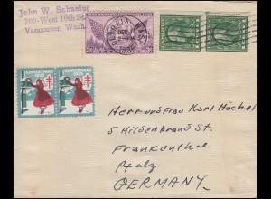 USA 379 Staat Michigan mit Zusatzfr. Bf OLYMPIA WASH. 17.12.35 nach Deutschland