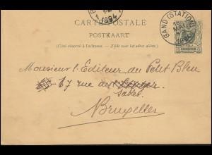 Belgien Postkarte P 26II Ziffer 5 C. M 24 mm vor Corte, GAND (STATION) 18.5.1894