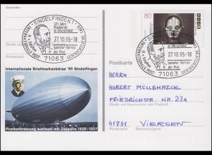 PSo 40 Sindelfingen Postbeförderung Zeppelin SSt Postkarten in Deutschland 1995