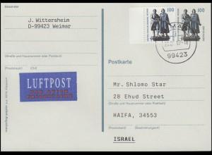 Postkarte P 157 Goethe-Schiller-Denkmal +1934A SWK Luftpost-FDC Weimar 28.8.1997