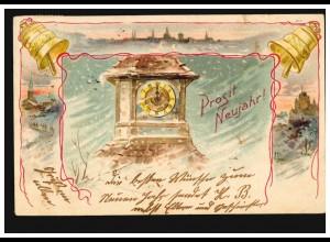 Ansichtskarte Neujahr Kirchtumuhr un Glocken Neujahrsläuten, WILLICH 31.12.1901