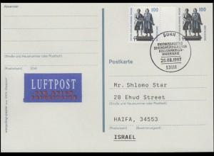 Postkarte P 157 Goethe-Schiller-Denkmal +1934A SWK Luftpost-FDC ESSt Bonn