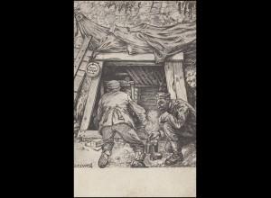 Feldpostkarte Eingang zum Dachsbau BS Kriegslazarett, FELD-POSTSTATION 17.4.16