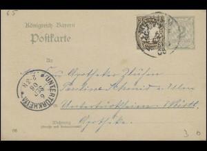 Bayern Postkarte NEU-ULM / SCHWABEN 6.9.06 nach UNTERTÜRKHEIM 6.9.06 Apotheker