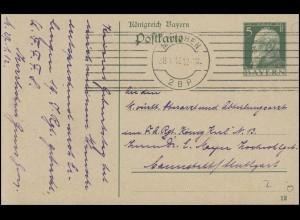 Bayern Postkarte MÜNCHEN 2.B.P. 28.1.12 nach Cannstett/Stuttgart Regimentsarzt