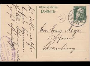 Bayern Postkarte P 87I/04 DV 14, Salzfischerei & Seefischhandel NÜRNBERG 30.3.14