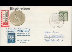 Sonder-R-Zettel Vogel+Philatelie auf passendem Brief mit SSt WILLICH 4.12.1971