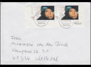2145 Schauspielerin Romy Schneider als UR-Paar MeF auf Brief STENDAL 23.10.2000