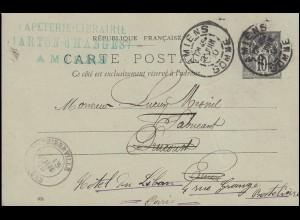 Frankreich Postkarte P 11 Allegorie DV 006 AMIENS 13.6.1900 n.THIEBERVILLE 13.6.