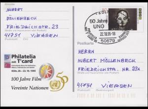 PSo 39 Philatelia Köln mit T'card mit SSt Köln UNO Vereinte Nationen 22.10.95